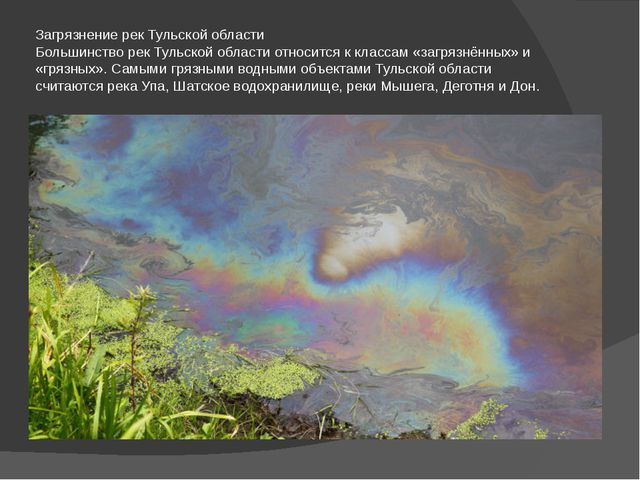 Загрязнение рек Тульской области Большинство рек Тульской области относится к...