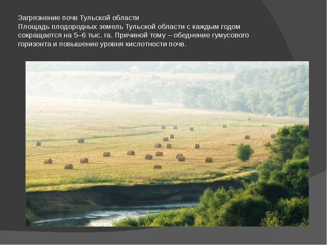 Загрязнение почв Тульской области Площадь плодородных земель Тульской области...