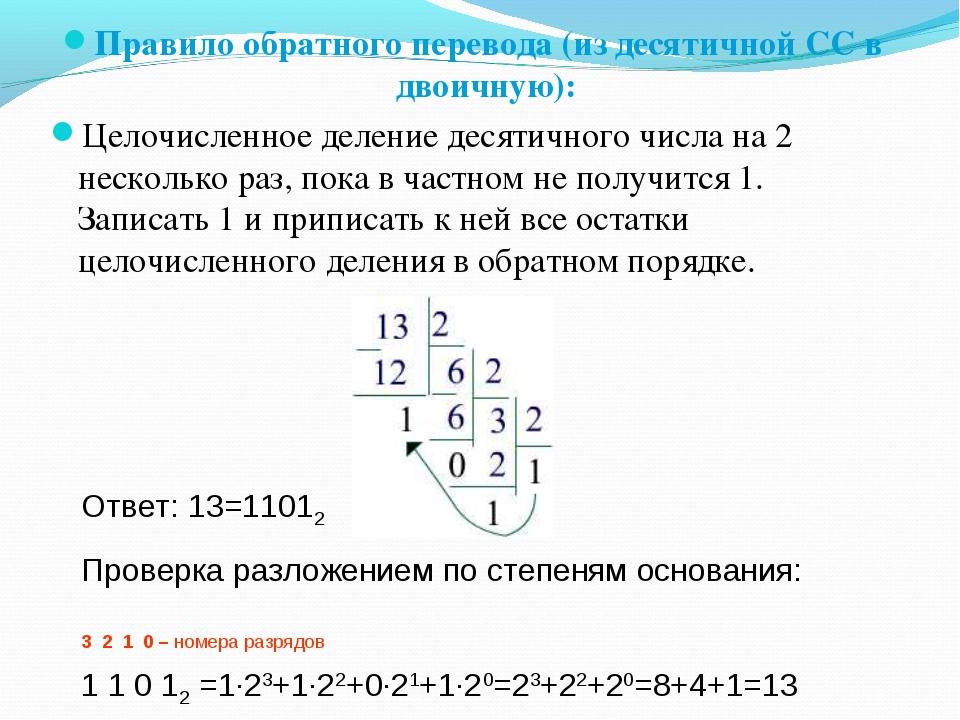 Правило обратного перевода (из десятичной СС в двоичную): Целочисленное делен...