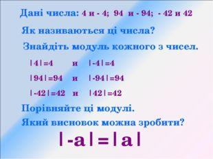 Дані числа: 4 и - 4; 94 и - 94; - 42 и 42 Як називаються ці числа? Знайдіть м