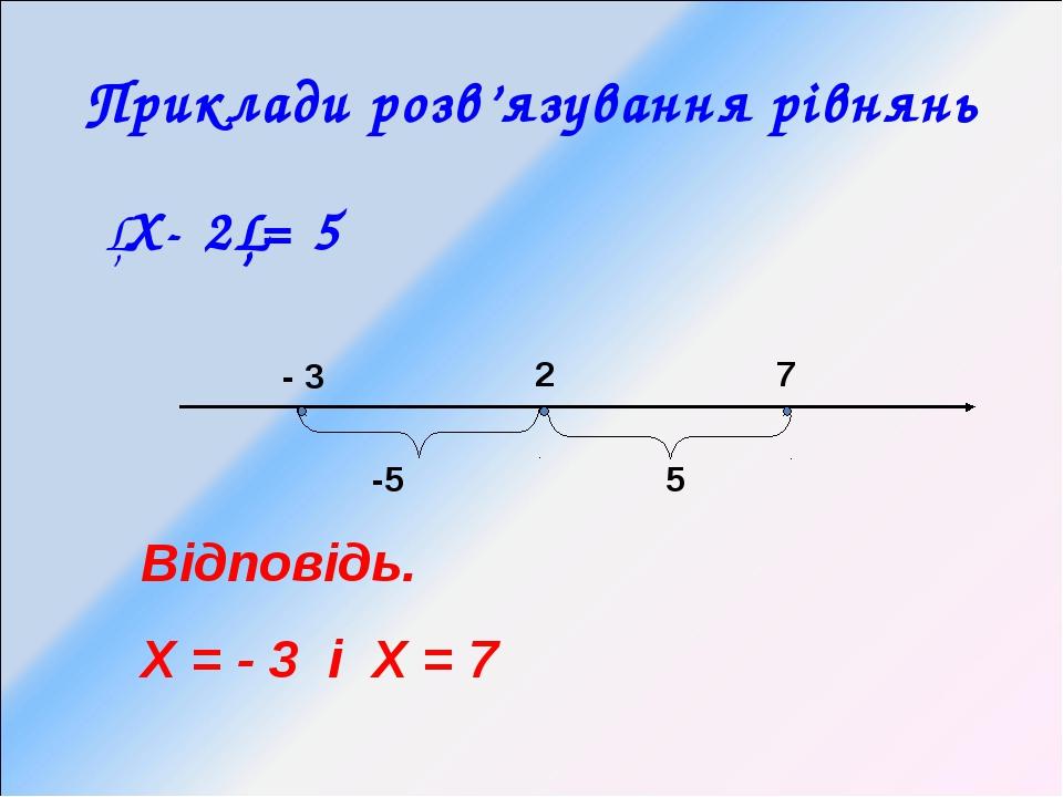 Приклади розв'язування рівнянь │Х- 2│= 5 - 3 2 7 Відповідь. Х = - 3 і Х = 7