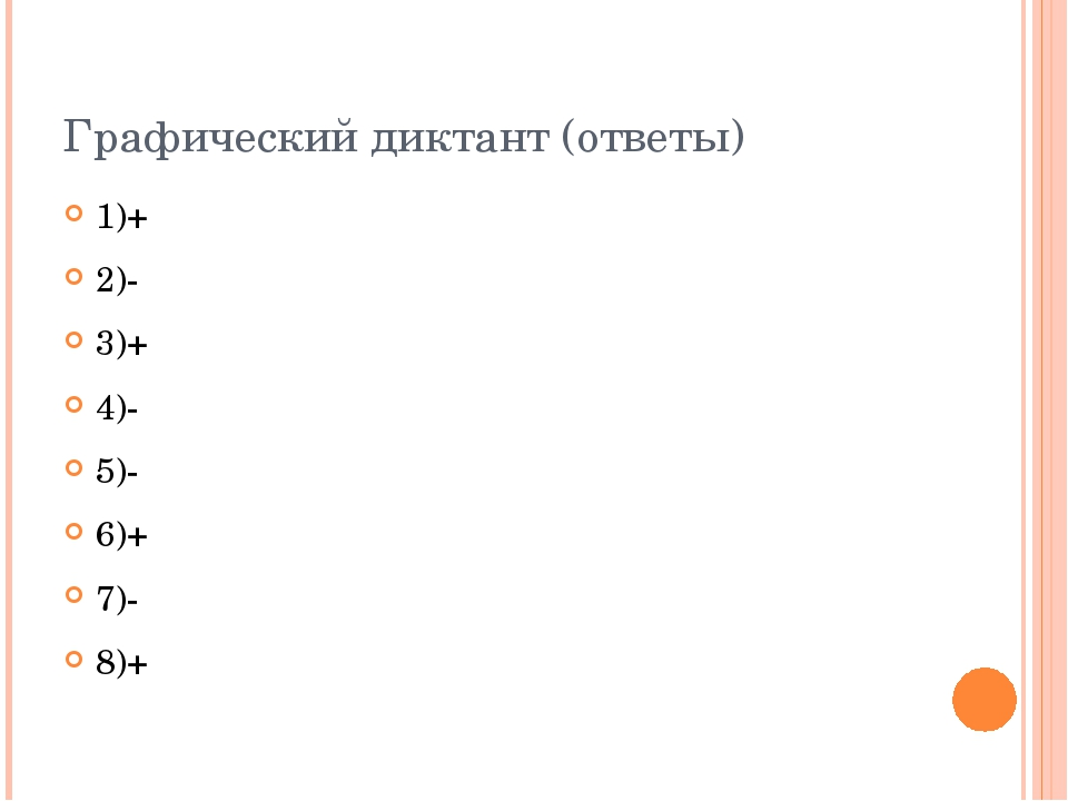 Графический диктант (ответы) 1)+ 2)- 3)+ 4)- 5)- 6)+ 7)- 8)+