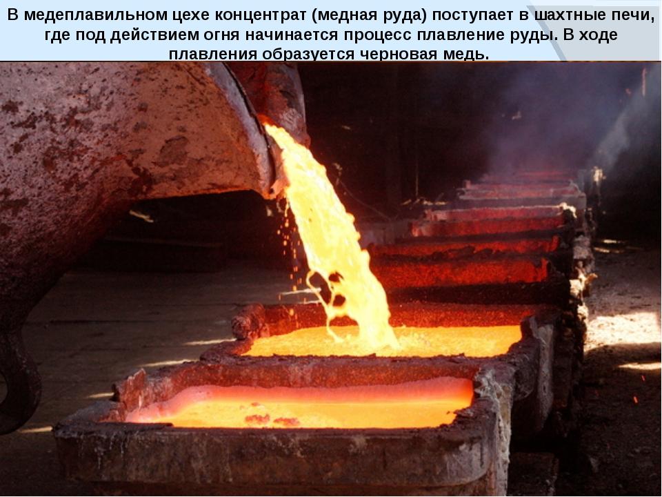 www.themegallery.com В медеплавильном цехе концентрат (медная руда) поступает...