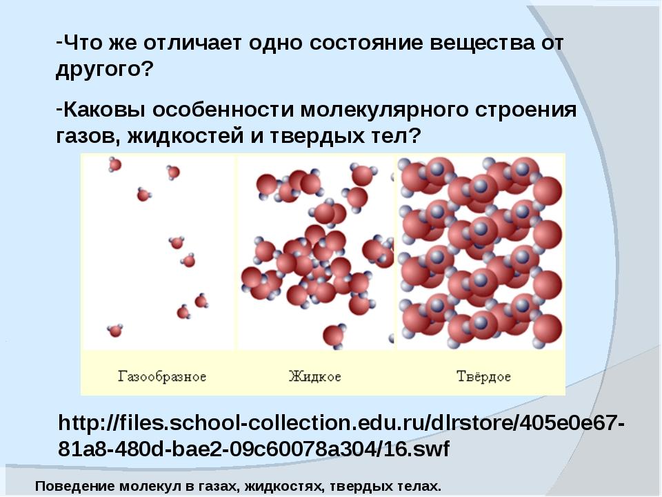 Что же отличает одно состояние вещества от другого? Каковы особенности молеку...