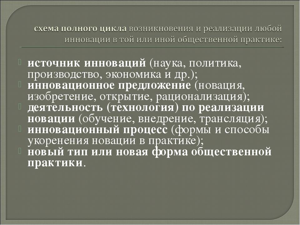 источник инноваций (наука, политика, производство, экономика идр.); инноваци...