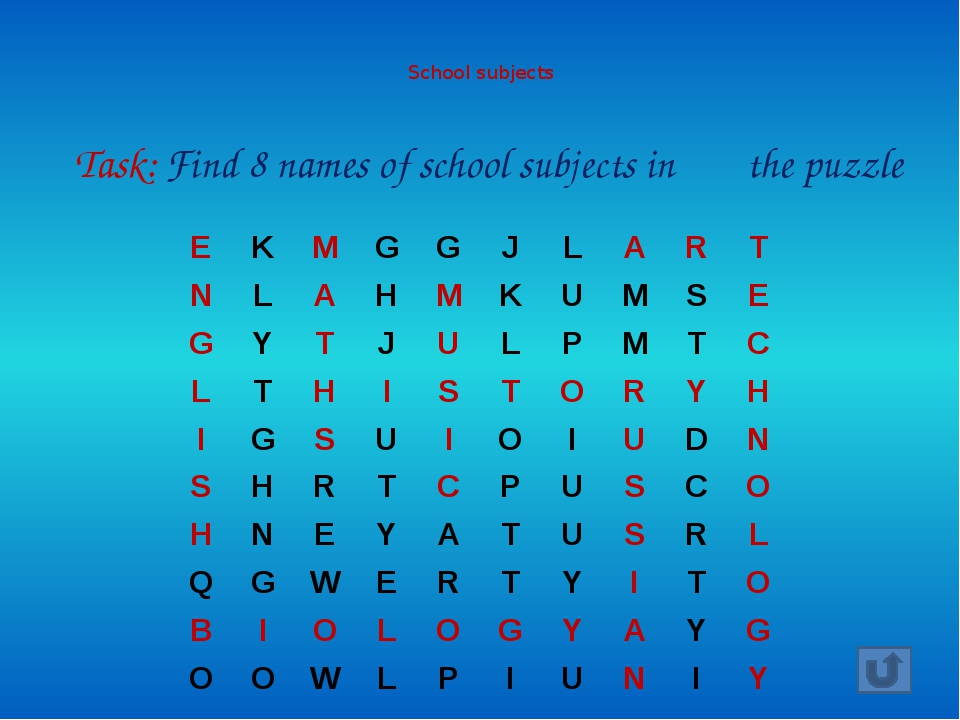 School subjects Task: Find 8 names of school subjects in the puzzle E K M...