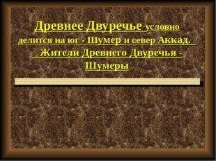 Древнее Двуречье условно делится на юг - Шумер и север Аккад. Жители Древнего