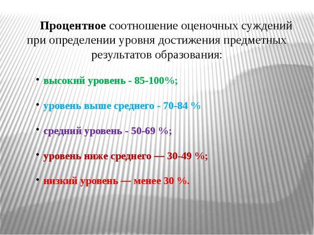 Процентное соотношение оценочных суждений при определении уровня достижения п...