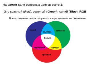На самом деле основных цветов всего 3: Это красный (Red), зеленый (Green), си