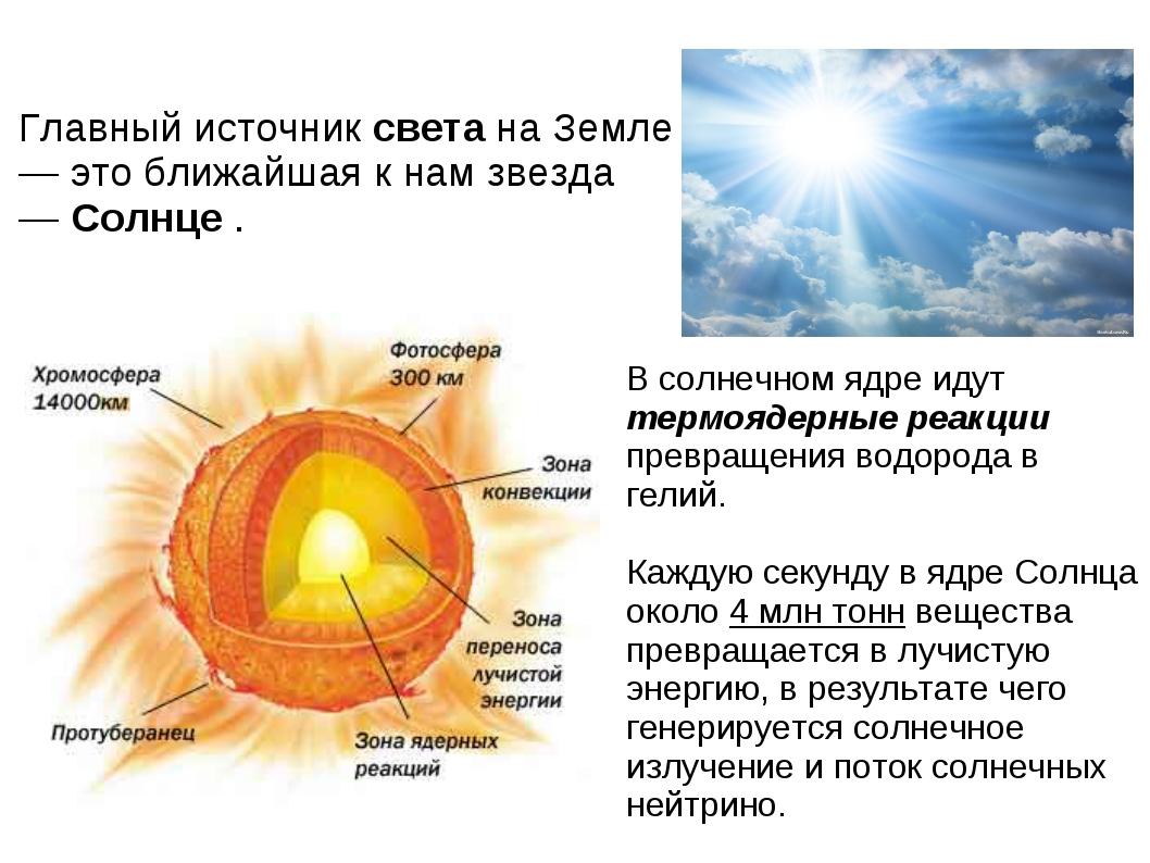 Главный источник света на Земле — это ближайшая к нам звезда — Солнце . В сол...