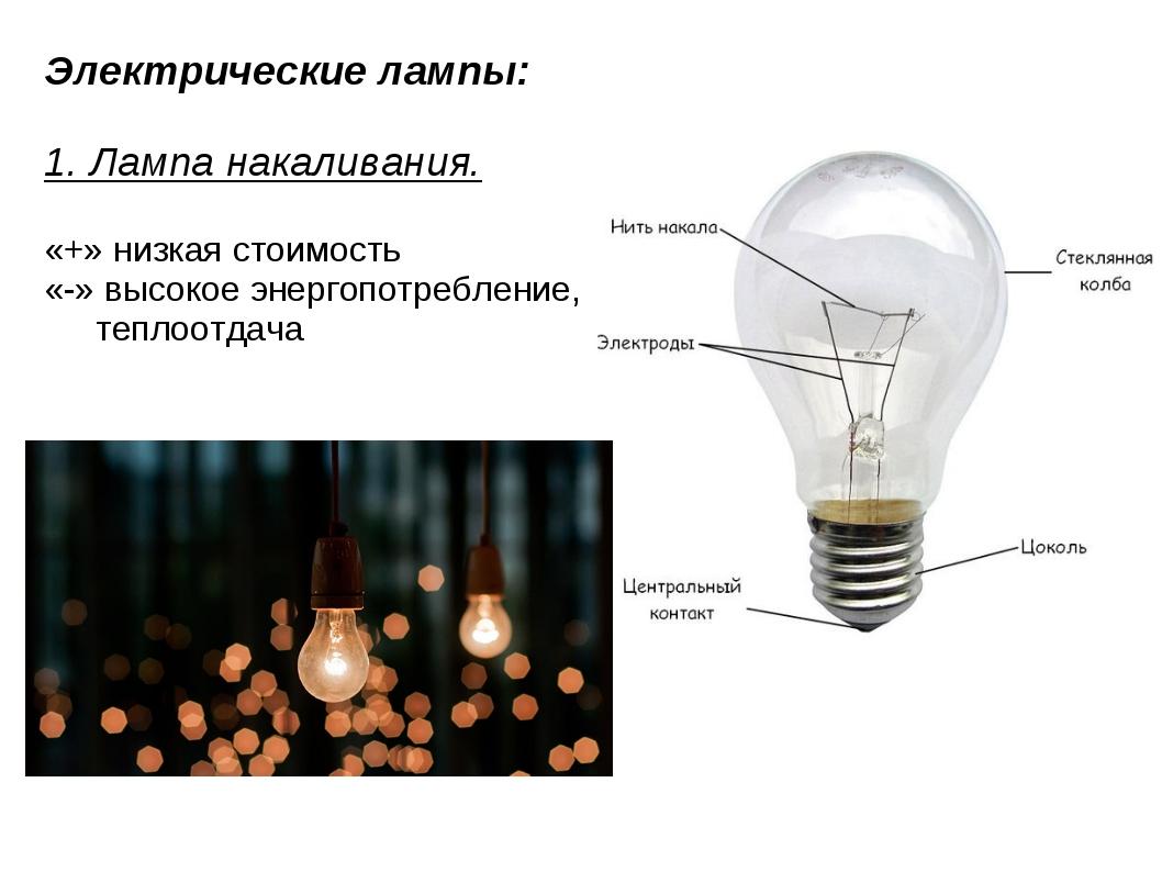 Электрические лампы: 1. Лампа накаливания. «+» низкая стоимость «-» высокое э...