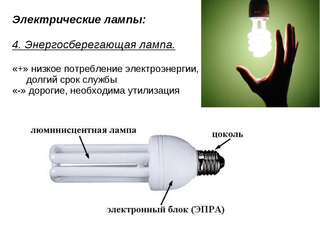 Электрические лампы: 4. Энергосберегающая лампа. «+» низкое потребление элект...