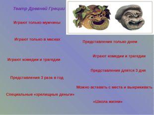 Театр Древней Греции Играют комедии и трагедии Играют только в масках Предста