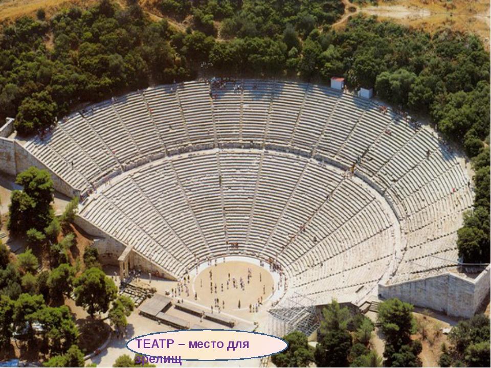 ТЕАТР – место для зрелищ В греческих городах с конца VI в. до н. э. строили...