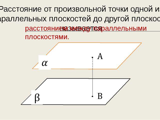 Расстояние от произвольной точки одной из параллельных плоскостей до другой п...