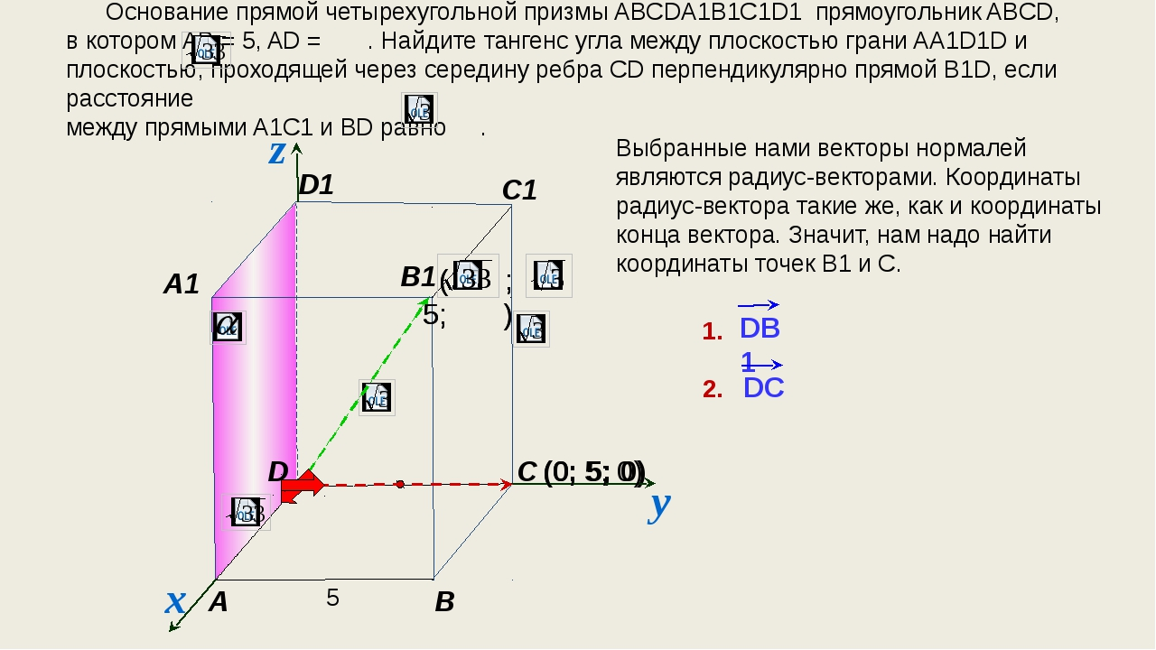 (0; 5; 0) Основание прямой четырехугольной призмы ABCDA1B1C1D1 прямоугольник...