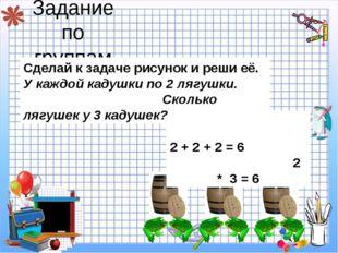 Задание по группам 2 + 2 + 2 = 6 2 * 3 = 6 Сделай к задаче рисунок и реши её.
