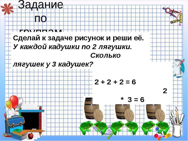 Задание по группам 2 + 2 + 2 = 6 2 * 3 = 6 Сделай к задаче рисунок и реши её....
