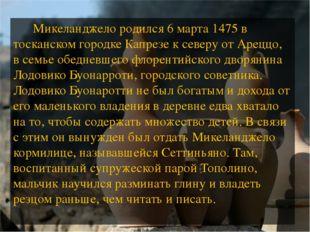 Микеланджело родился6 марта1475в тосканскомгородкеКапрезек северу от А