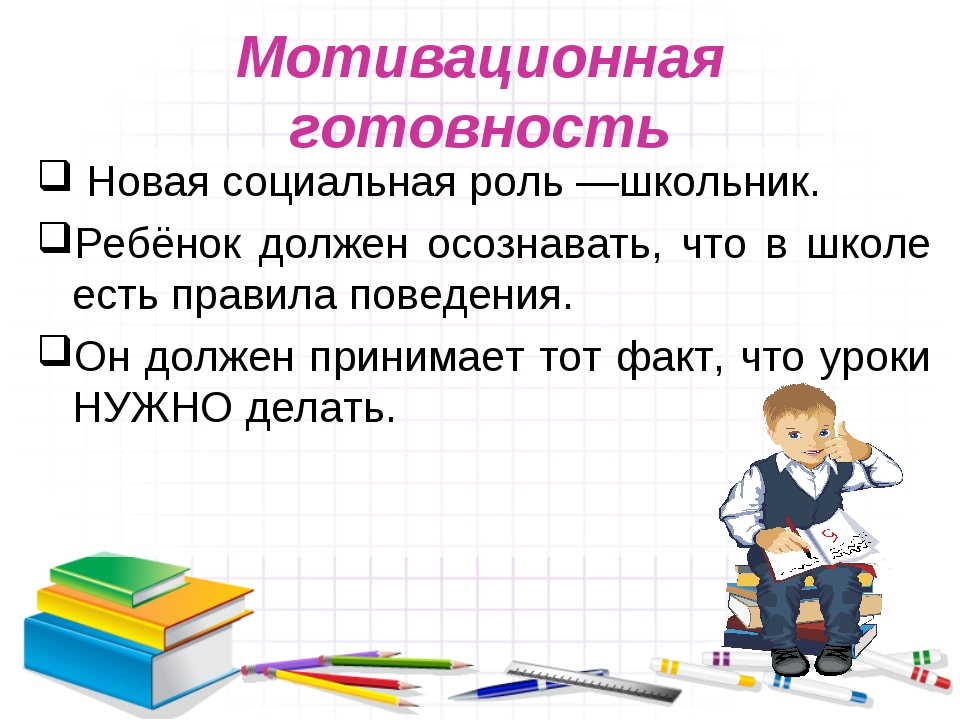 Мотивационная готовность Новая социальная роль—школьник. Ребёнок должен осоз...