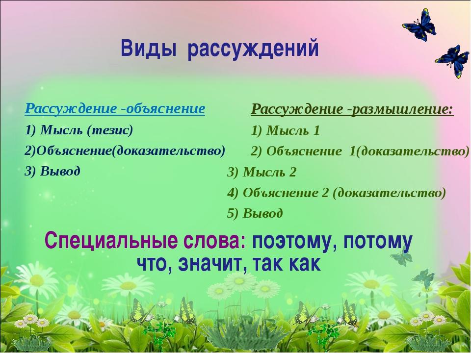 Рассуждение -объяснение 1) Мысль (тезис) 2)Объяснение(доказательство) 3) Выв...