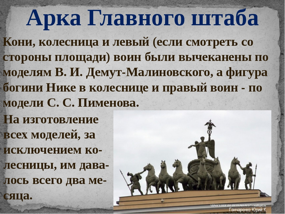 Арка Главного штаба Кони, колесница и левый (если смотреть со стороны площади...