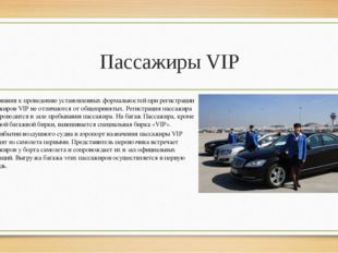 Пассажиры VIP Требования к проведению установленных формальностей при регистр