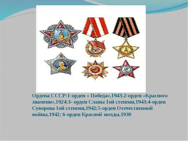Ордена СССР:1-орден « Победа»,1943;2-орден «Красного знамени»,1924;3- орден С...