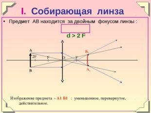 Предмет АВ находится за двойным фокусом линзы : d > 2 F Изображение предмета