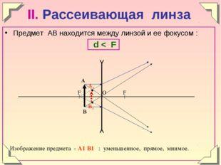 II. Рассеивающая линза Предмет АВ находится между линзой и ее фокусом : d < F