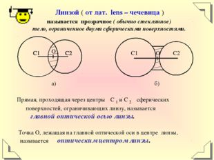 Линзой ( от лат. lens – чечевица ) называется прозрачное ( обычно стеклянное