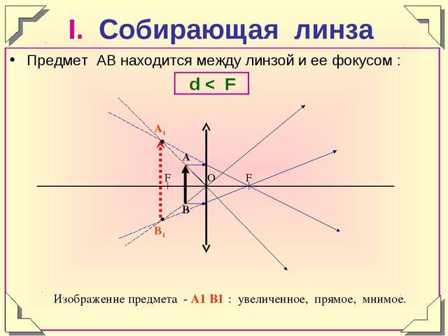 I. Собирающая линза Предмет АВ находится между линзой и ее фокусом : d < F Из...