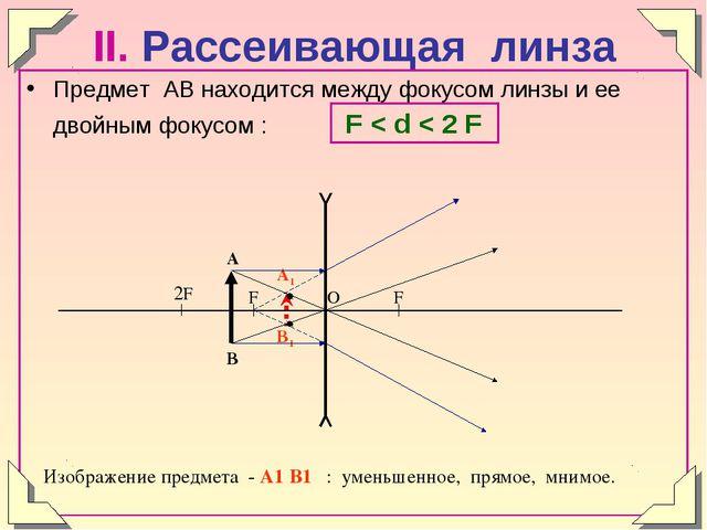 II. Рассеивающая линза Предмет АВ находится между фокусом линзы и ее двойным...
