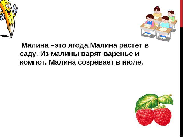 Малина –это ягода.Малина растет в саду. Из малины варят варенье и компот. Ма...