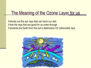 The Meaning of the Ozone Layer for us It blocks out the sun rays that can har