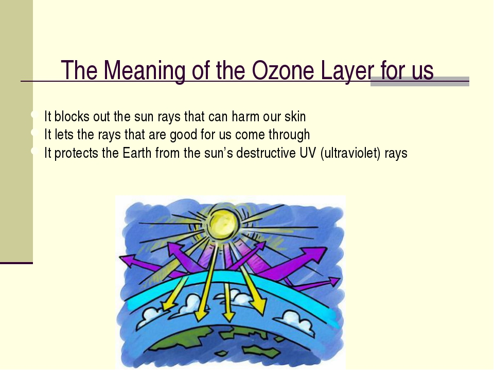 The Meaning of the Ozone Layer for us It blocks out the sun rays that can har...