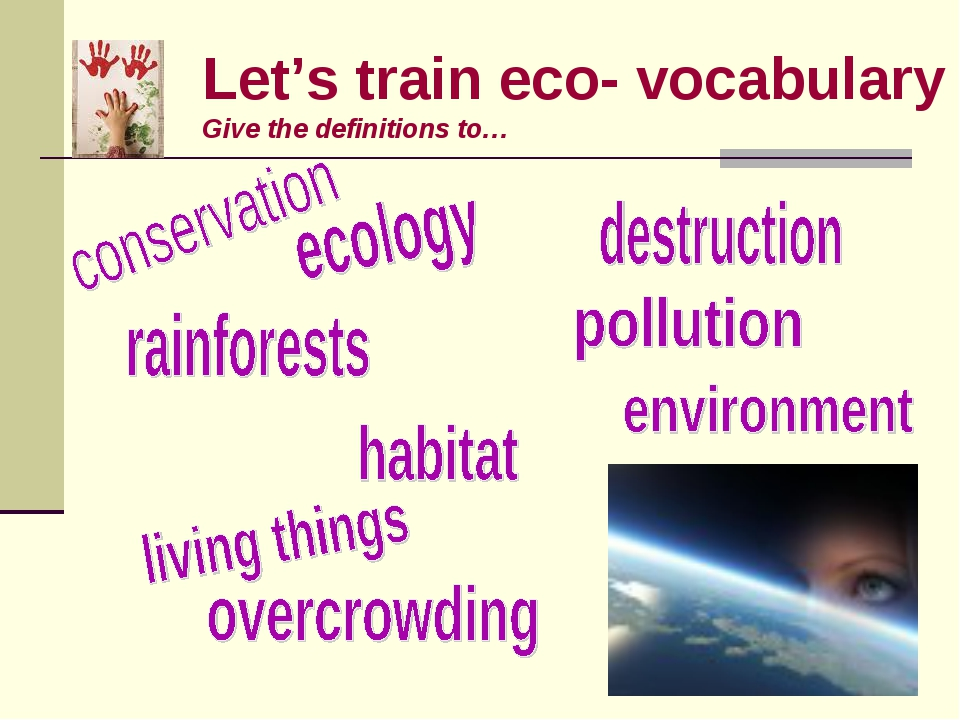 Let's train eco- vocabulary Give the definitions to…