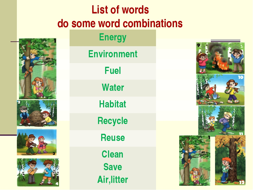 List of words do some word combinations 	 	 	 	 	 	 	 	 Energy Environment Fu...