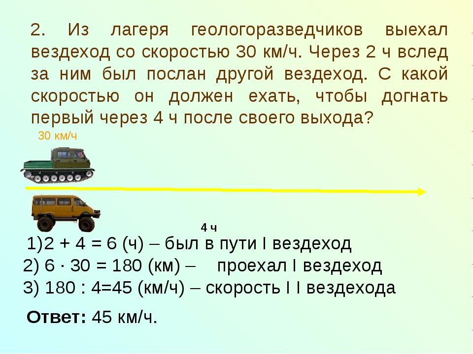 2. Из лагеря геологоразведчиков выехал вездеход со скоростью 30 км/ч. Через 2...