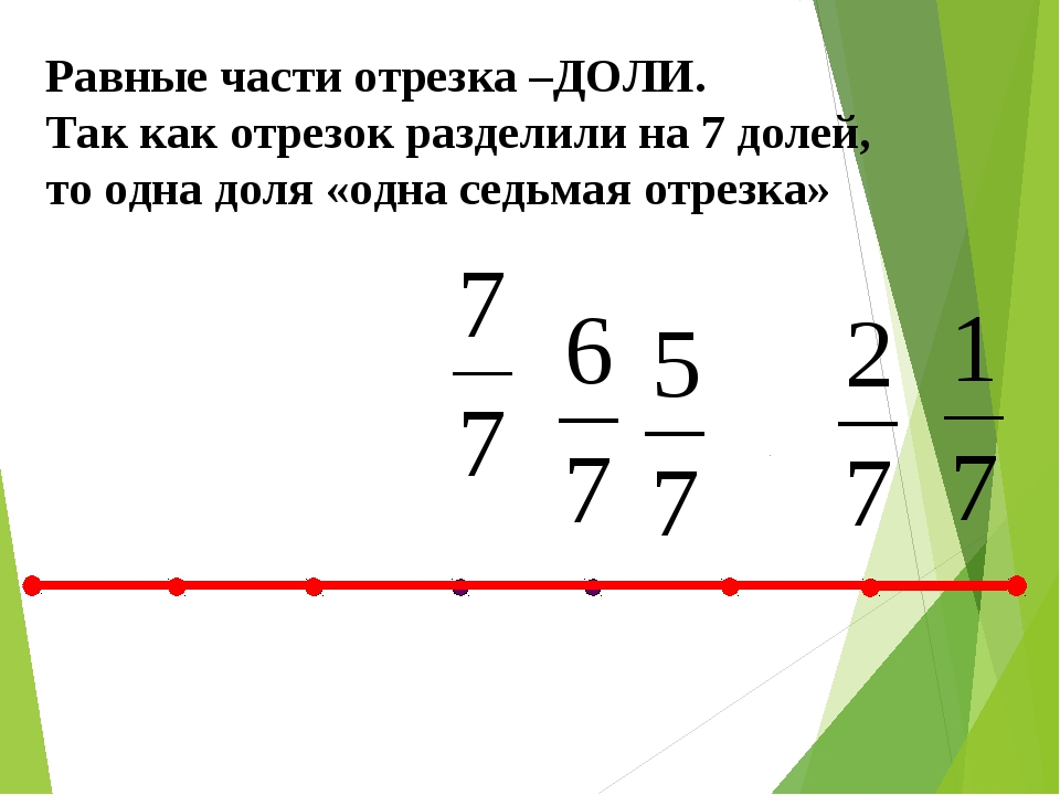 Равные части отрезка –ДОЛИ. Так как отрезок разделили на 7 долей, то одна дол...