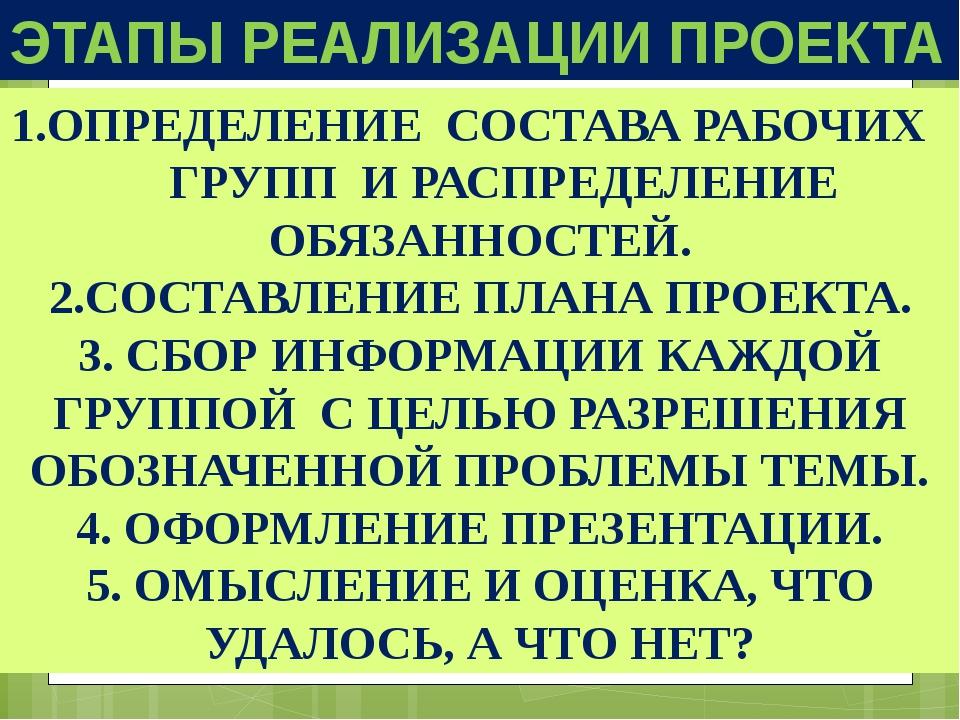 ЭТАПЫ РЕАЛИЗАЦИИ ПРОЕКТА 1.ОПРЕДЕЛЕНИЕ СОСТАВА РАБОЧИХ ГРУПП И РАСПРЕДЕЛЕНИЕ...