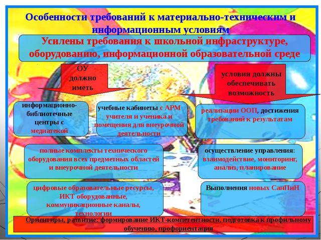 Особенности требований к материально-техническим и информационным условиям Ус...