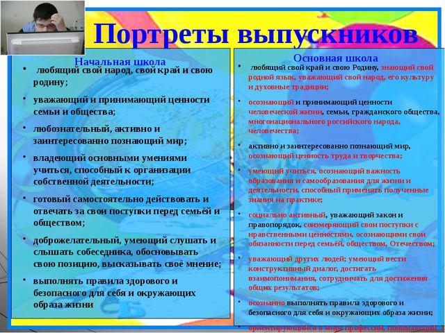 Портреты выпускников Начальная школа Основная школа любящий свой народ, свой...