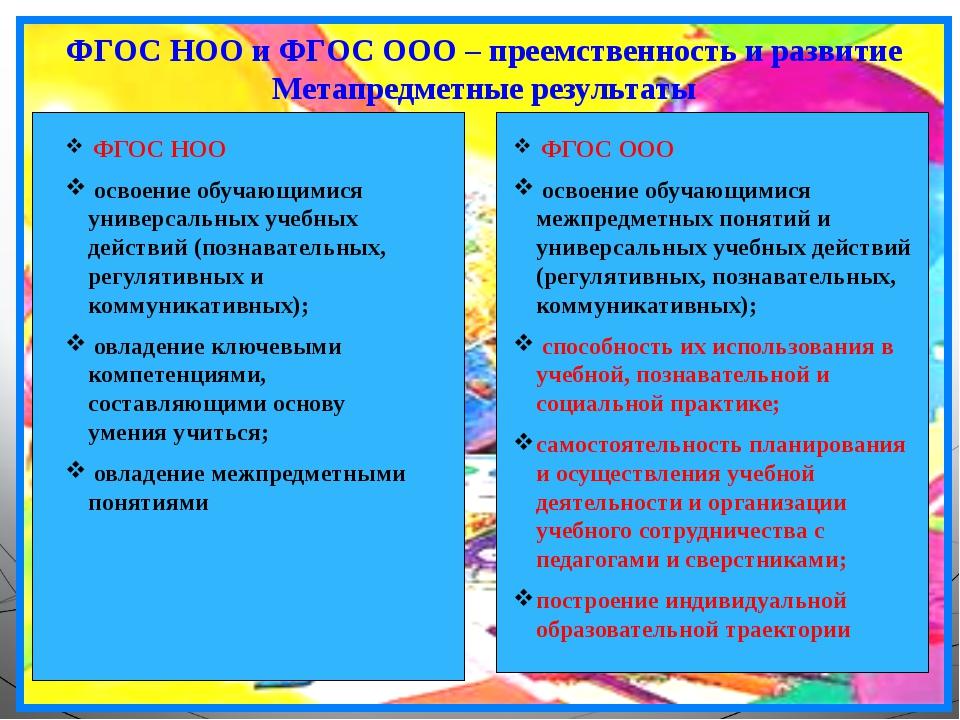 ФГОС НОО и ФГОС ООО – преемственность и развитие Метапредметные результаты ФГ...