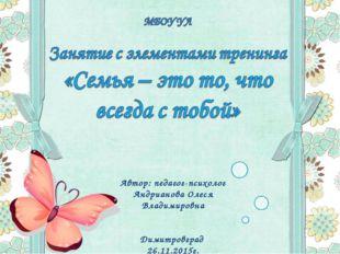 Автор: педагог-психолог Андрианова Олеся Владимировна Димитровград 26.11.2015г.