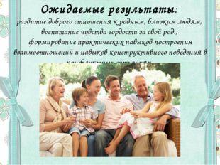 Ожидаемые результаты: развитие доброго отношения к родным, близким людям, вос