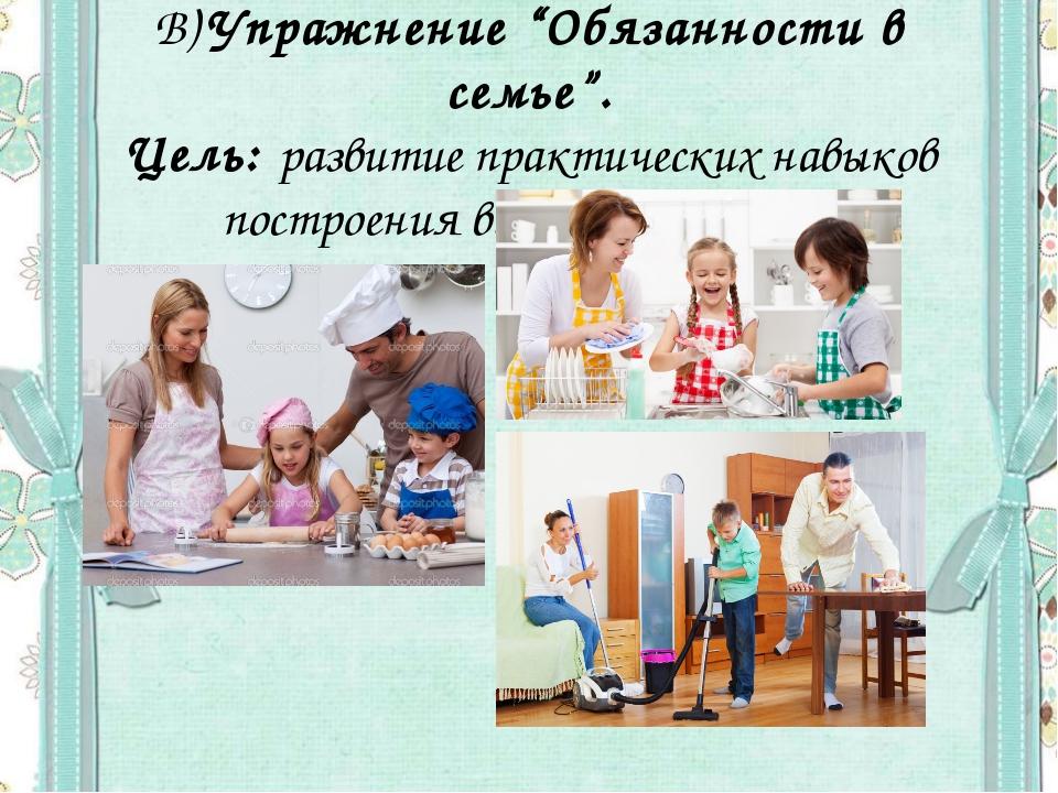 """В)Упражнение """"Обязанности в семье"""". Цель: развитие практических навыков пост..."""