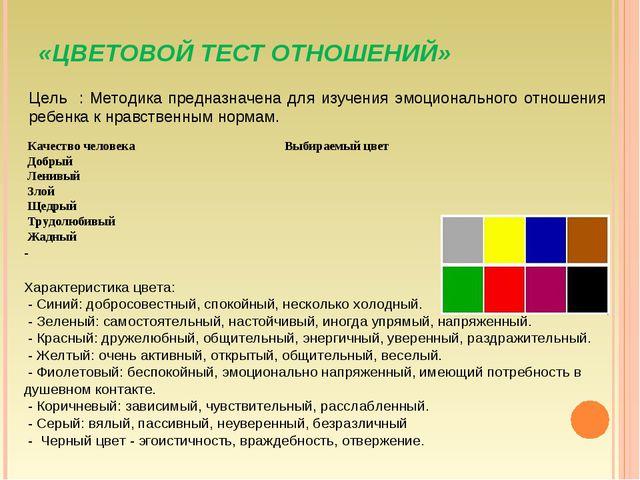 «ЦВЕТОВОЙ ТЕСТ ОТНОШЕНИЙ» Цель : Методика предназначена для изучения эмоциона...