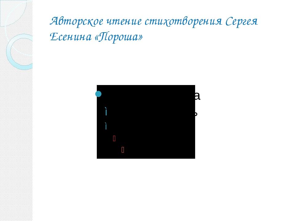 Авторское чтение стихотворения Сергея Есенина «Пороша»