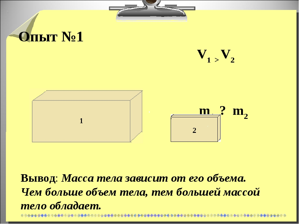 Опыт №1 Вывод: Масса тела зависит от его объема. Чем больше объем тела, тем б...